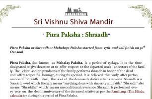 Pitra Paksha - Shraadh